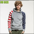 Sweatshirts hoodies men fashion American flag print warm fleece casual homme brand pullover hoody jacket mens US size hoodies