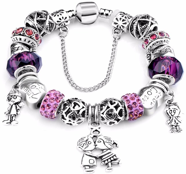 2017 hot Fashion European Style Pa Bracelets black Charm Bracelet & Bangle European Beads Bracelets For Women Diy Jewelry