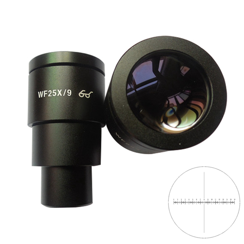 1PC High Eye-point WF25x 9MM Wide Angle Eyepiece Lens for Stereo Microscope with Scale Mounting Size 30mm new 1 25 f6mm 66 degree wide angle eyepiece for telescope