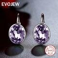 EVOJEW Настоящее Стерлингового Серебра 925 Потрясающие Фиолетовый Кристалл Серьги Обруча Для Женщин Свадьба Мода-Летию Ювелирных Изделий