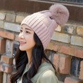 2016 Women's Winter Mink Fox Fur Pom Pom Wool Beanie Hats Warm Pompom Hat Girl's Cable Twist Knitted Bobble Hats Bone