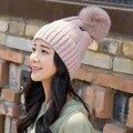 2016 de Las Mujeres de Invierno de Visón de piel de Zorro Pom Pom Gorro de Lana Cable de Giro de Punto sombreros Sombrero de Pompón Caliente Chica Sombreros Bobble hueso