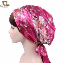 women Satin head scarf comfortable sleeping bonnet silky head covering head wrap hair scarf cap