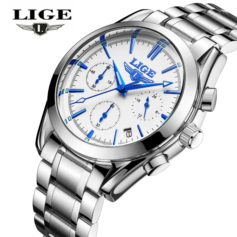 relogio masculino LIGE Top Luxury Brand Fashion Business Quartz Watch Mens Sports Chronograph Watches Men Full Steel Clock man lige gold watch men new mens watches top brand luxury business clock man full steel fashion sport quartz watch relogio masculino