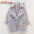 2016 New Autumn Winter Girls Children Korean One Button Houndstooth Jackets Warm Turn-down Collar Outwear Coats for Girls Kids