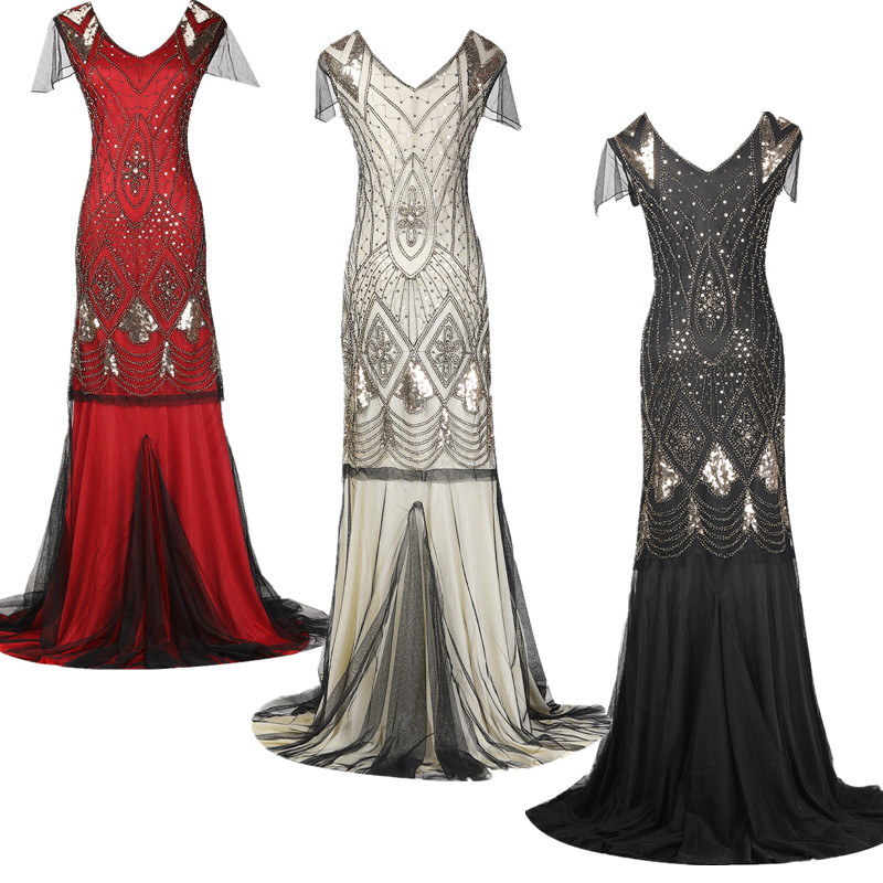 1920s Great Gatsby Latin Dance Dresses Fler V Neck Beaded Sequins Party Long Dress Floor Length Charleston