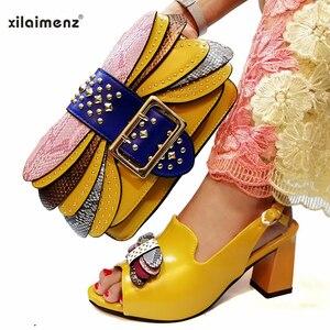 Image 3 - בוגר סגנון איטלקי גבירותיי נעל התאמת תיק Pu ניגרי נעלי למסיבה נשים נעליים ותיק כדי להתאים ב ורוד