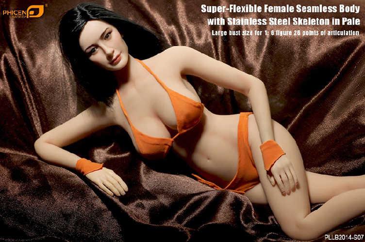 Cuerpo sin costura femenino figura a escala 1/6/súper Flexible con esqueleto de acero inoxidable en PLLB2014-S07 Ph de tamaño pálido/Gran busto incluye cabeza