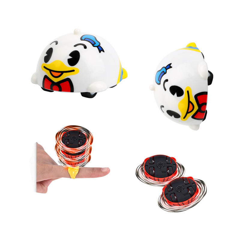 Disney Donald Duck Classic Battle Gyro Inertia Car Plastic Spinning Top Mini Toys Gift for Kids With Ring Educational Game Toys