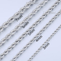 2/3/4/5/6/7mm Mens Boys Chain Womens Girls Unisex Rope Silver Tone Stainless Steel Necklace Lobster Claw Clasp LKNM132