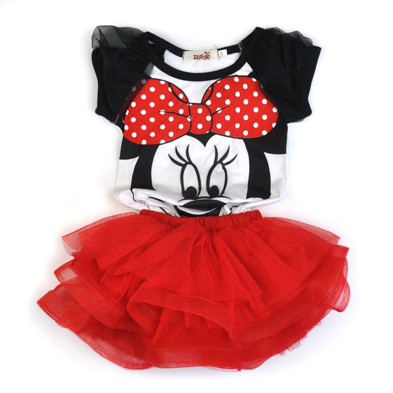 Girls sets two piece Cartoon Clothing Set tshirt and tutu skirt Children Toddler Baby Girl cute Minnie Clothing Set Kids Summer new hot sail 2015 children girl chiffon top skirt set baby pettiskirt tutu top girls tutu skirt free shipping