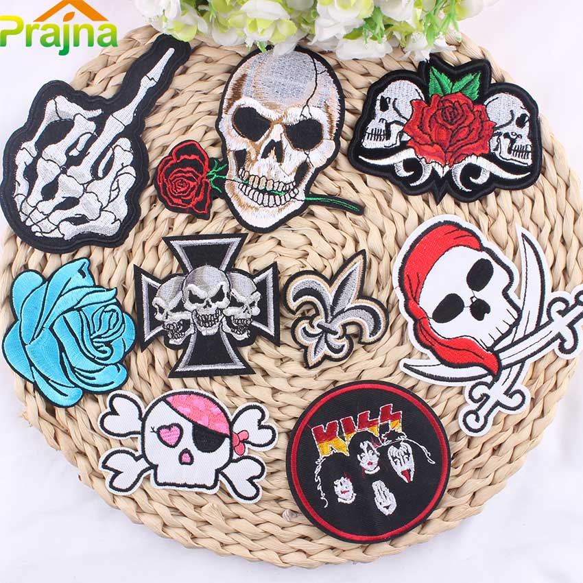 1PCS Letter Skull Punk Patch Biker Unicorn Kids Cartoon Iron On Patches Cheap Embroidered Cute Band Patches For Clothing Jeans
