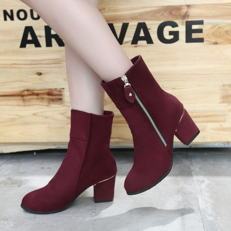 2016 new winter women s fashion boots Martin boots women solid color suede female bootsb1