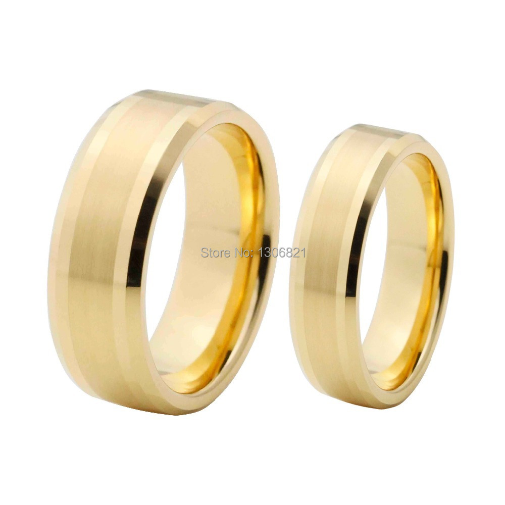 shiny gold plated wedding ring tungsten ring nice wedding band in rings from jewelry. Black Bedroom Furniture Sets. Home Design Ideas