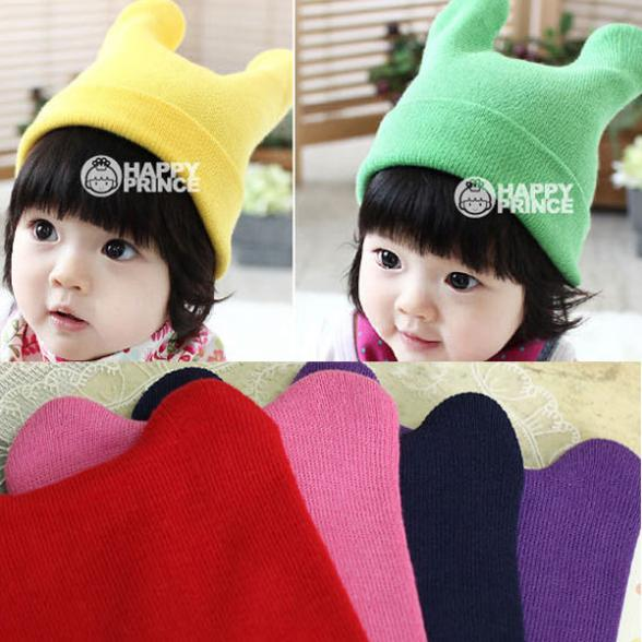 Retail Wholesale Factory Price! Lovely Baby Kids Ox Horn Knitted Wool Hats Winter Boys Girls Warm Beanie Caps