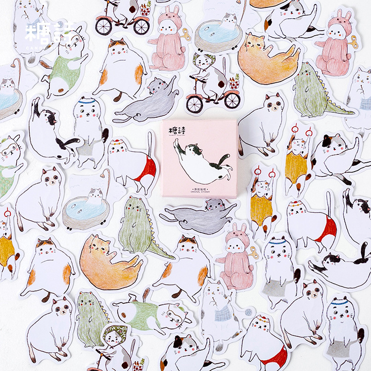 Fat Cat Dairy Decorative Stationery Stickers Scrapbooking DIY Diary Album Stick Lable