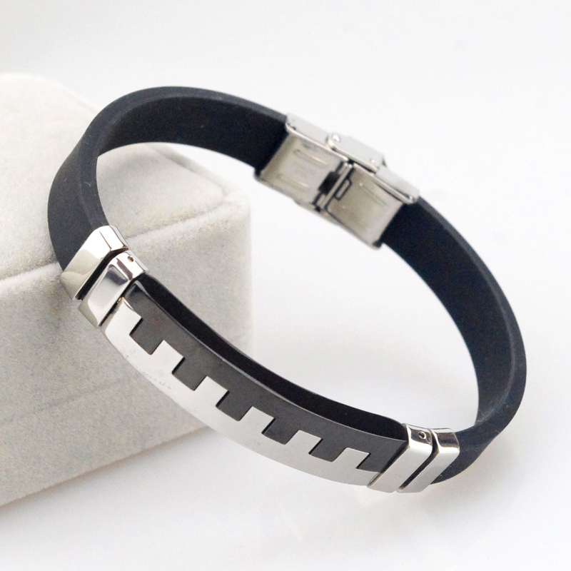 2016 New Fashion 23cm 12mm Wrap leather bracelet piano Black Silver Stainless Steel Trendy Punk Jewelry