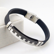 2016 New Fashion! 23cm*12mm Wrap leather bracelet piano Black Silver Stainless Steel Trendy Punk Jewelry for Women Men HZF059