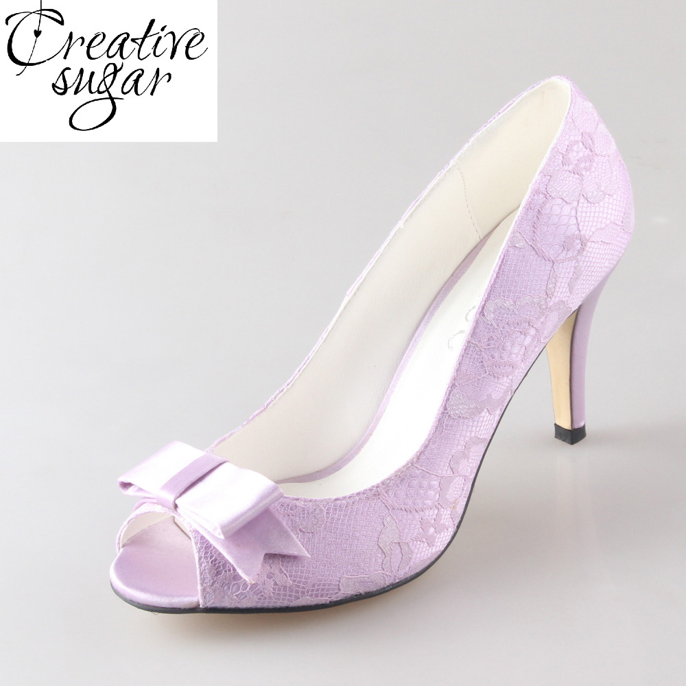 Creativesugar Handmade lavender lace with bow knot lady wedding bridal party prom dress shoes pumps 8cm heel open toe big size creativesugar handmade teal peacock blue long tulle bridal shoes soft gauze leg strap forest fairy tale wedding party lady pumps