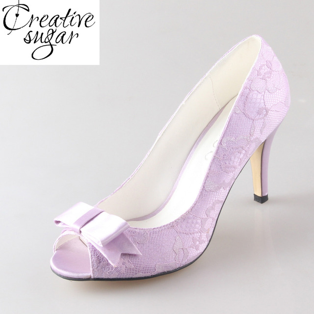 6eb1e17683c Creativesugar lavender light purple lilac lace with bow knot lady wedding  bridal party prom dress shoes pumps 8cm heel open toe