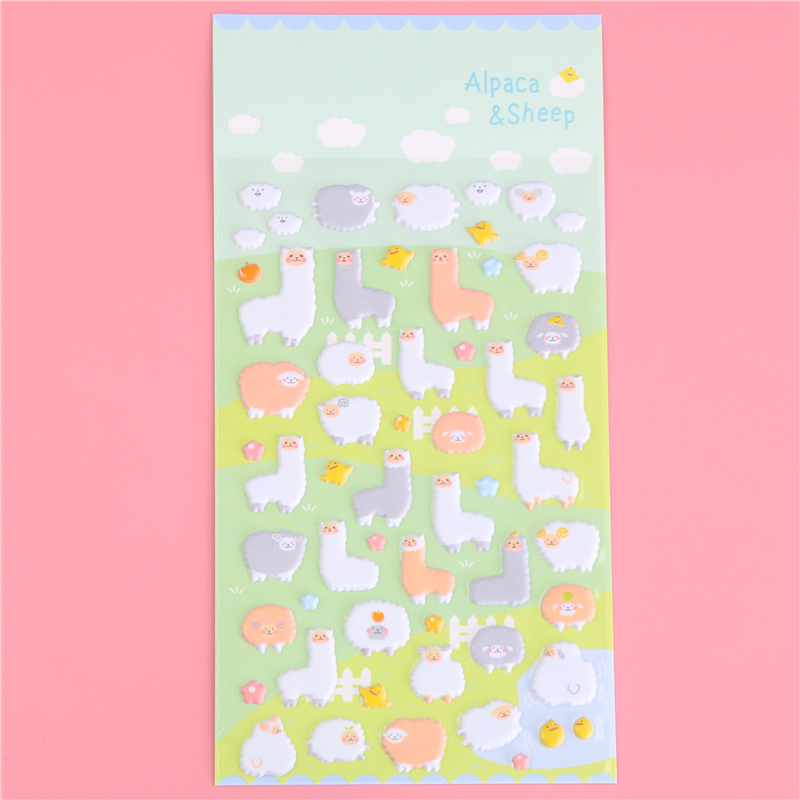 1 X Cute Alpaca 3D Bubble Sticker Decorative Decal Sticker Diy Ablum Diary Scrapbooking Kawaii Stationery Post It ...