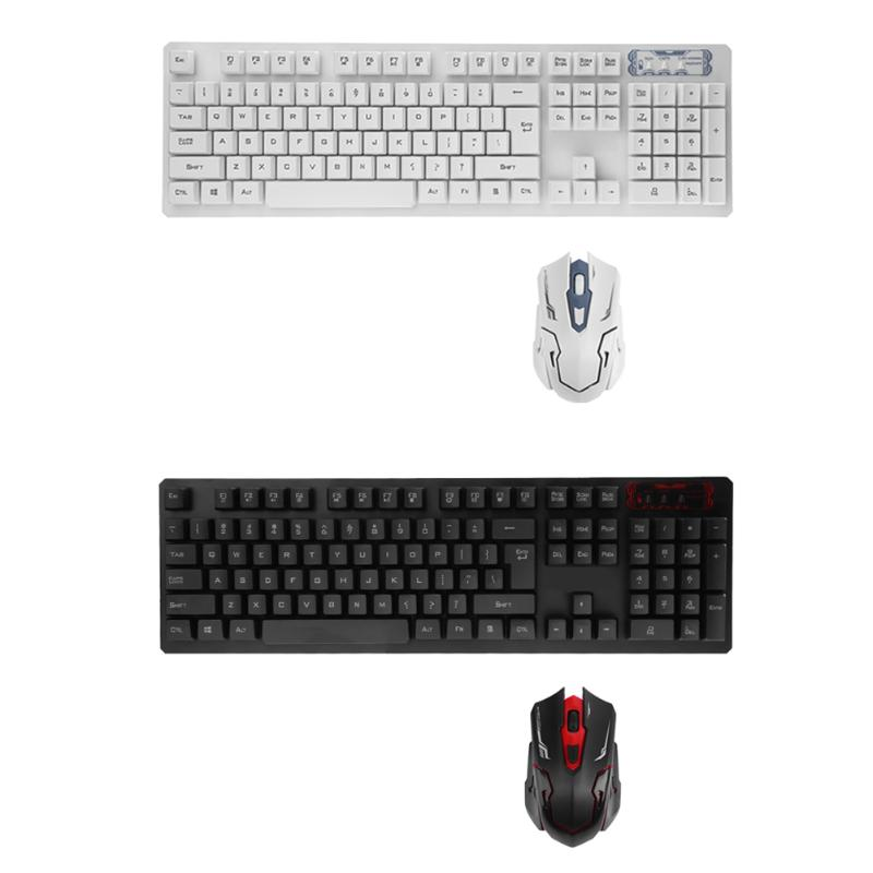 USB Wireless Ergonomic 104 Keys Gaming Keyboard and Adjustable 1600DPI Optical Mouse Set for PC Computer Tablet Black/ White sunsonny t m30 usb wired 6 button 600 1000 1600dpi adjustable led gaming mouse golden red