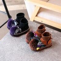 New Outono Inverno Botas De Couro Real da Pele do Coelho das Crianças Babados Bota para o Bebê Da Menina Meias Quentes Sapatos de Pelúcia para o Miúdo Ankle Boot