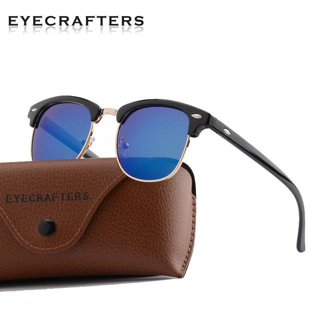 74357f06326 Half Frame Polarized Sunglasses Men Women Retro Semi Rimless Rimmed Rivet Glasses  UV400 Metal Frame Brand Design Sun Glasses