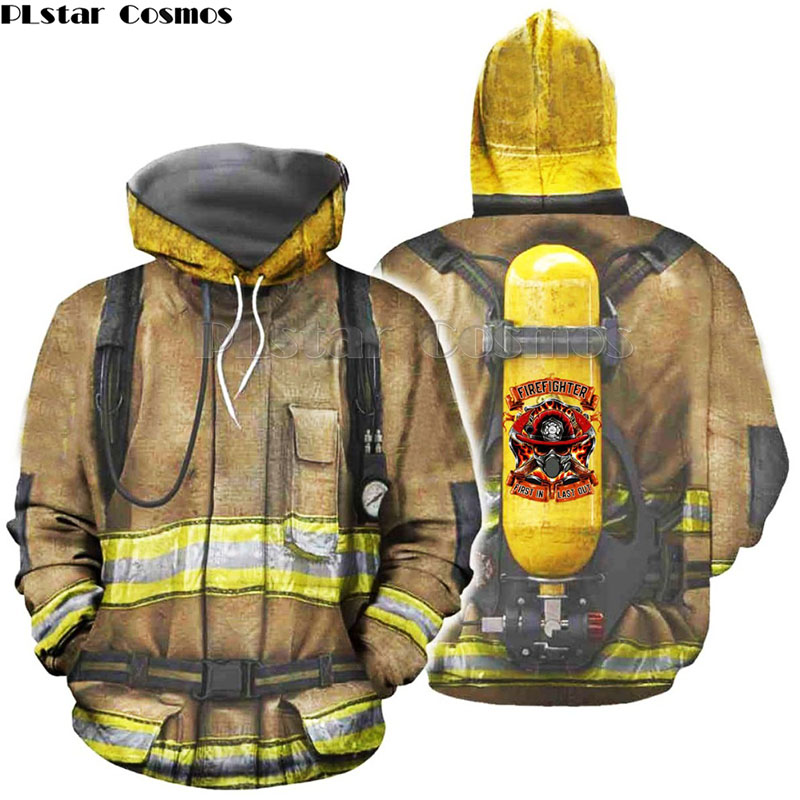 Family Matching Outfits Monther Kids Clothes Firefighter Suit 3D Print Hoodies Fireman Son Daughter Sweatshirt/Jacket 2