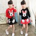 Primavera Crianças Roupas Ternos 2017 Novo Estilo Do Bebê Meninas Minnie ternos Camiseta de Manga Longa + Saia 2 Pcs Crianças Dos Desenhos Animados Dos Desenhos Animados ternos