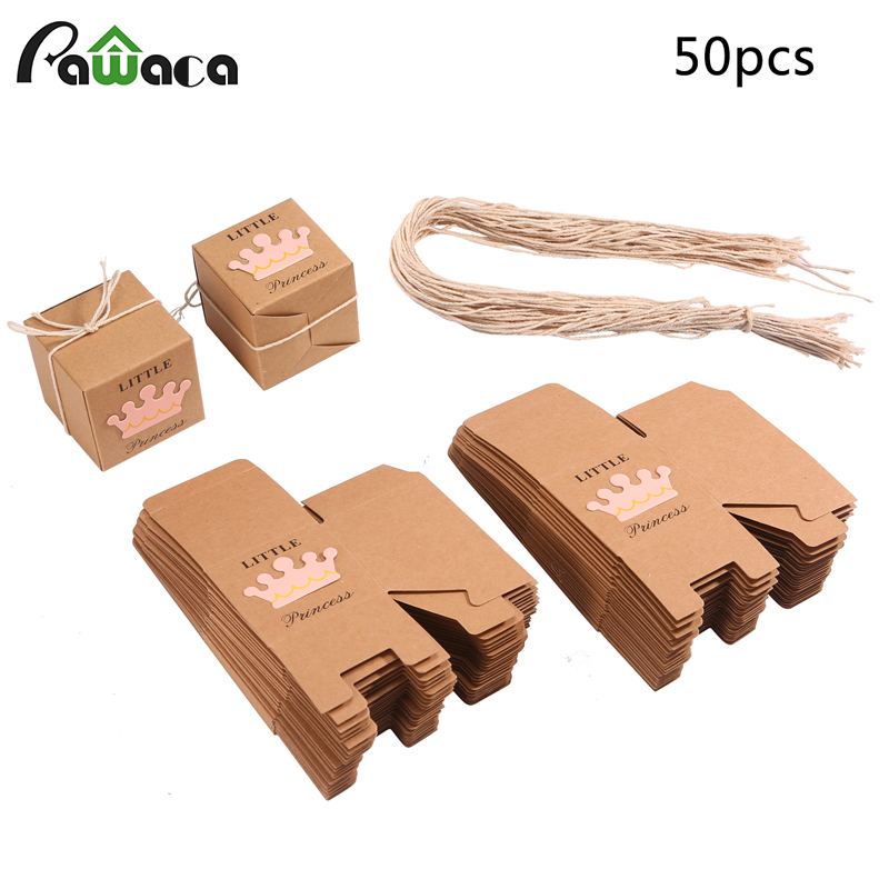 50 pcs/lot Kraft Paper Gift Box Candy Boxes Baby Shower Decorations Wedding Favors and Gifts Box for Guests
