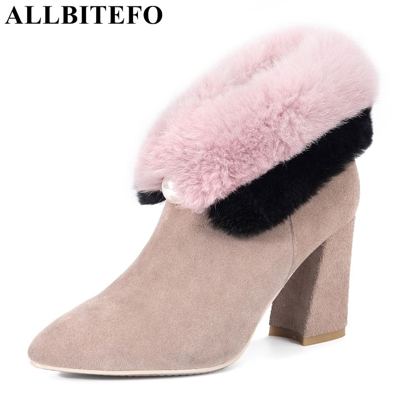 все цены на ALLBITEFO genuine leather+real fur thick heel women boots fashion brand high heels ankle boots women winter boots girls shoes онлайн