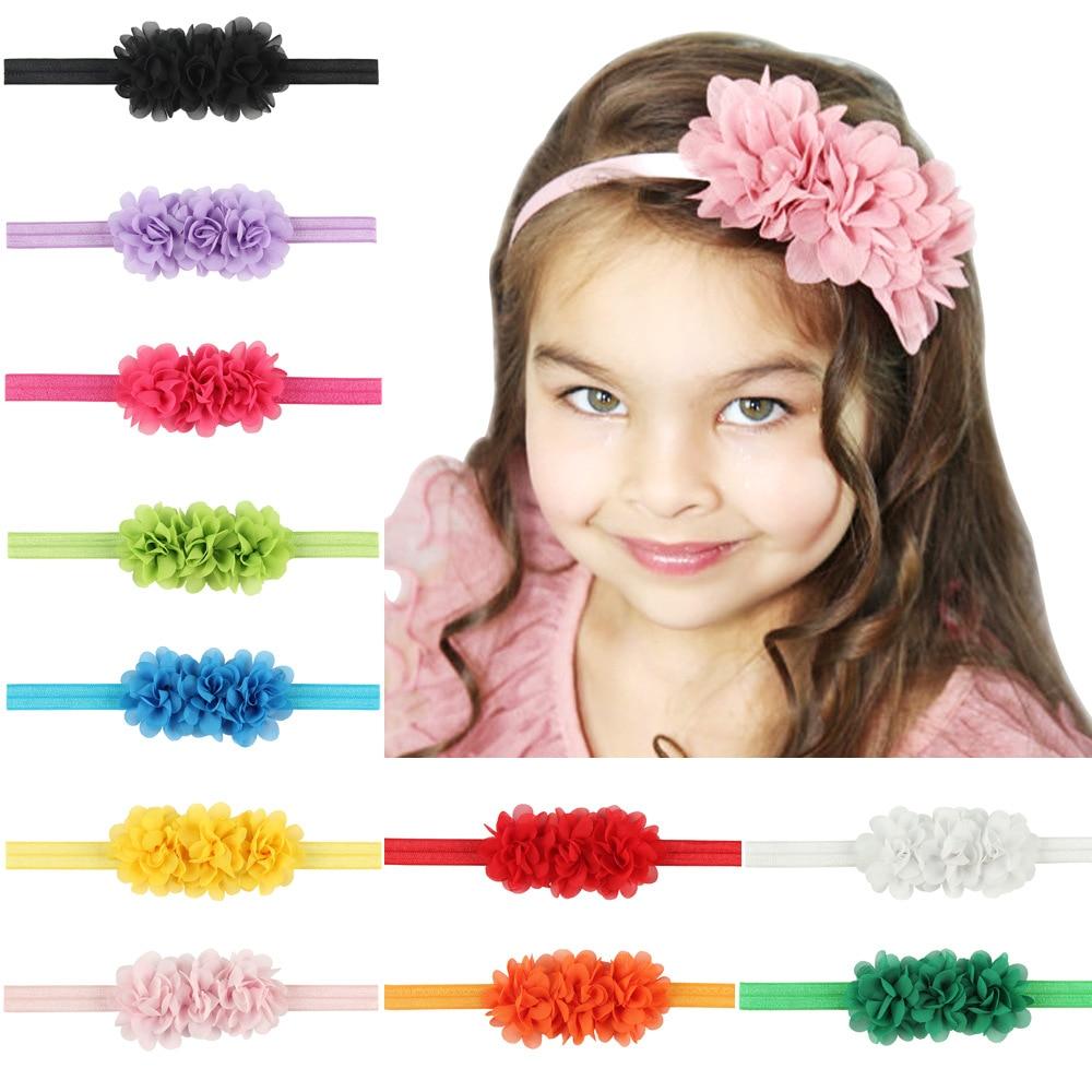 1 Piece MAYA STEPAN Children Fashion Hair Head Band Chiffon Flower Accessories Baby Newborn Hair Rope Headband Headwear Headwrap