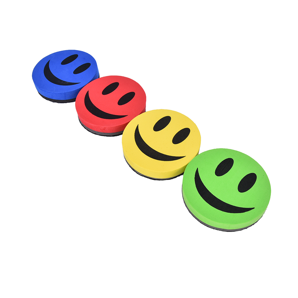 School And Office Smile Face Rubber Whiteboard Cleaner Dry Marker Eraser 1 Pc Magnetic Whiteboard Eraser For Whiteboard