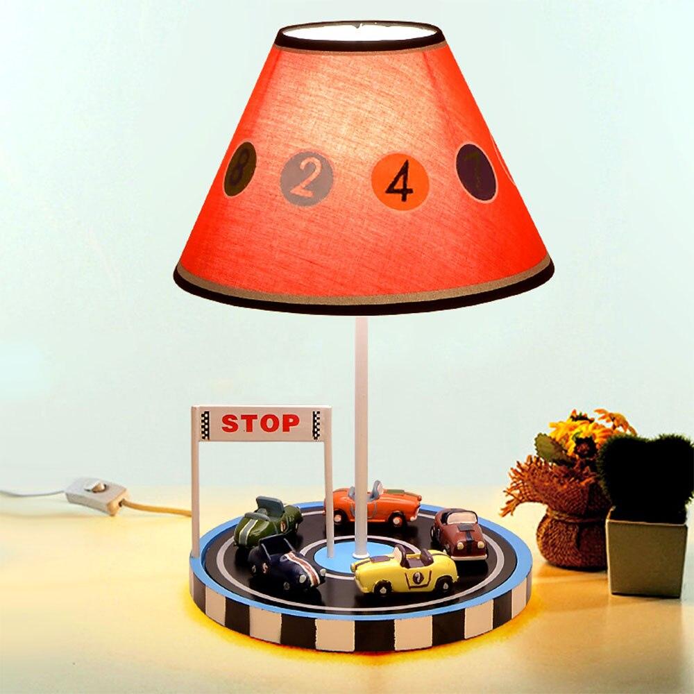Защита глаз Детская комната автомобиль лампы Спальня ночники творческая личность мальчика мультфильм номер свет лампы настольная лампа