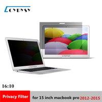 15 pulgadas de Pantalla filtro de Privacidad Protector de cine para 2012-2015 Modelo de MacBook Pro Portátil de 353mm * 231mm