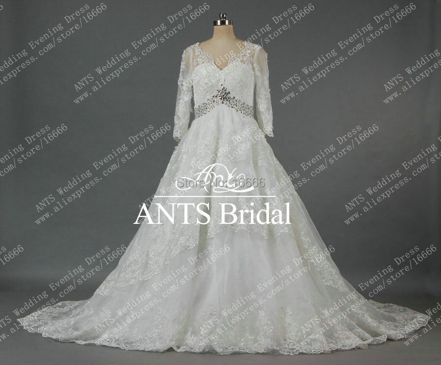Lace Long Sleeve Wedding Gowns V Neck With Chapel Train