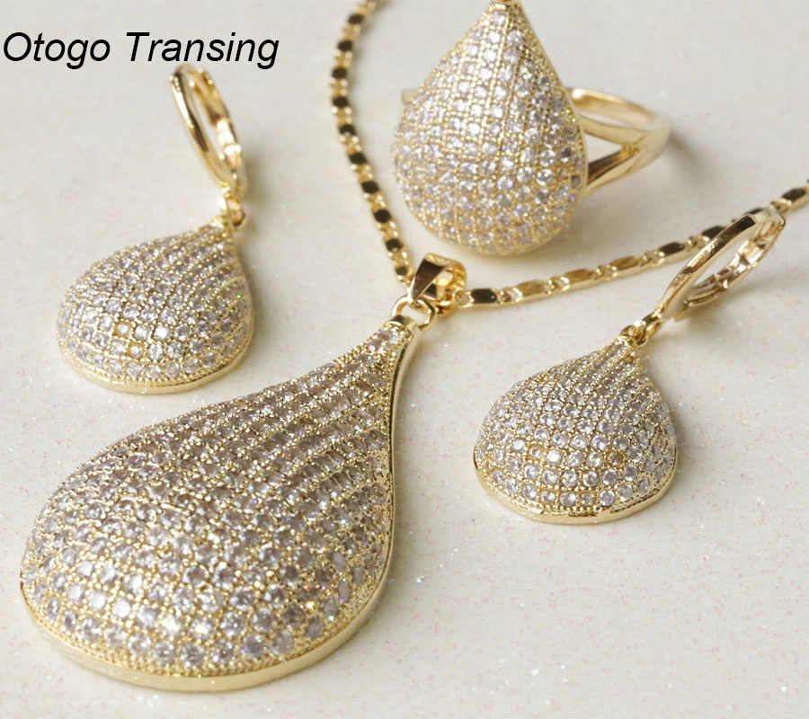 Otogo Transing 2019 Luxurious nobility Jewelry Sets Gold Color White Zircon valentine gift Necklace Pendant/Earring/Rings S0175