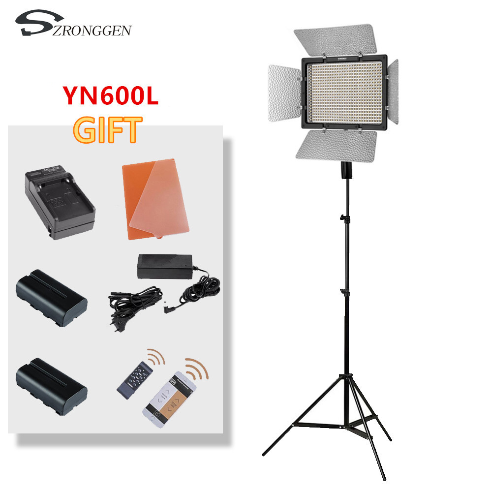 YONGOUO YN600L YN600 LED color temperature LED video light panel 3200K 5500 photography set battery Adapter