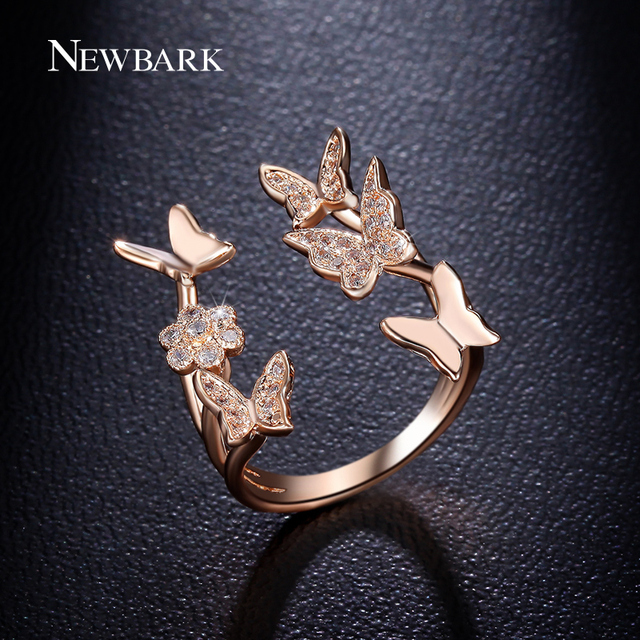 NEWBARK Lovely Ladies Butterfly Ring Rose Gold Color Open Rings For Women With T