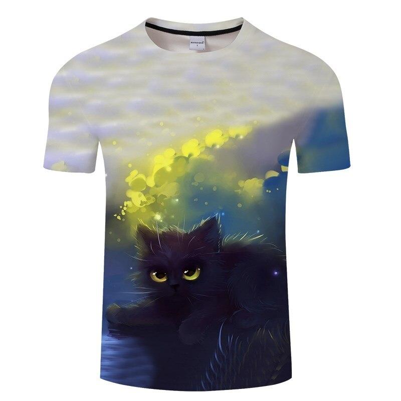 Черная футболка с 3D принтом кота для мужчин и женщин, летняя повседневная футболка с коротким рукавом и круглым вырезом, Топы И Футболки, Забавные футболки, Азиатские размеры S-6XL - Цвет: TXKH3140