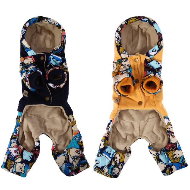 Winter Warm Dog Cotton Clothes Star Hoodie Four Leg Pet Coat Parkas for Teddy Bichon Dogs Small Dogs Clothes S M L XL XXL