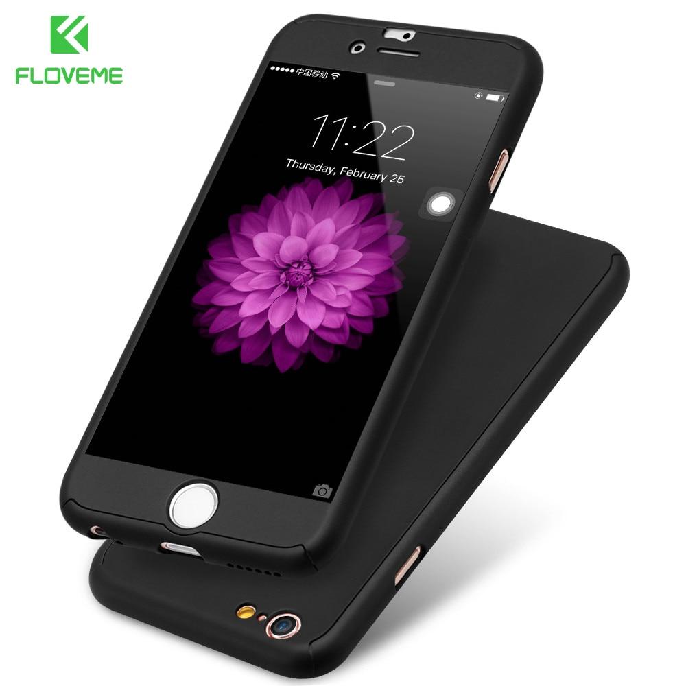 Роскошные 360 Полный Защитный Пластиковый Телефон Случаях Для iPhone 6 6 s Plus 7 7 плюс 5 5S SE Case Cover Бесплатно Закаленное Стекло Пленки ПК Капа