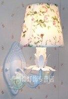 Modern korean Candle Rustic Princess ceramic Rose Flowers Wall Lamp children bedroom wall lamp