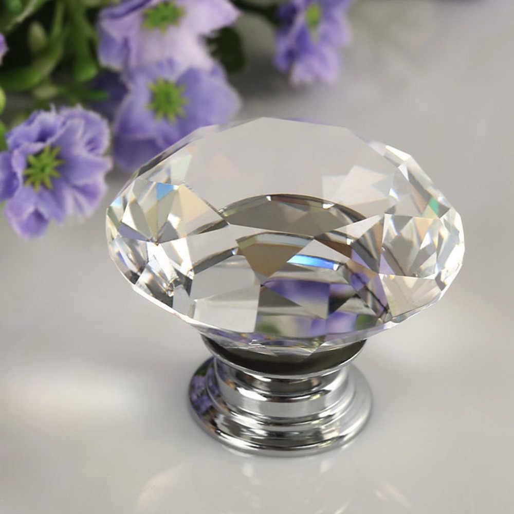 1pcs 30mm Diamond Crystal Glass Alloy Door Drawer Cabinet Wardrobe Pull Handle Knobs Drop Worldwide Store