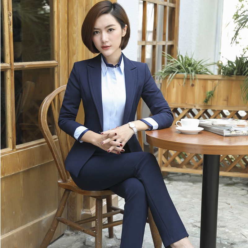 Autumn Winter Professional Formal OL Styles Blazers Ladies Office Business Work Wear Pantsuits Pants Suits Sets Plus Size
