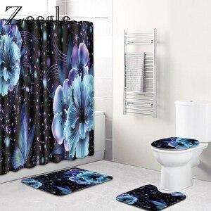 Image 3 - Zeegle Waterproof Shower Curtain with Hooks Bath Mat Set Absorbent Bathroom Cover Toilet Seat Mat Bathroom Floor Rugs