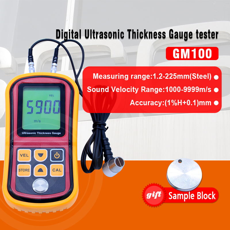 Digital LCD Ultrasonic Thickness Gauge Meter GM100 high precision Steel thickness tester 1.2-225mm 0.1mm Resolution 0 001mm electronic thickness gauge 0 1mm digital thickness meter tester for paper film bc04