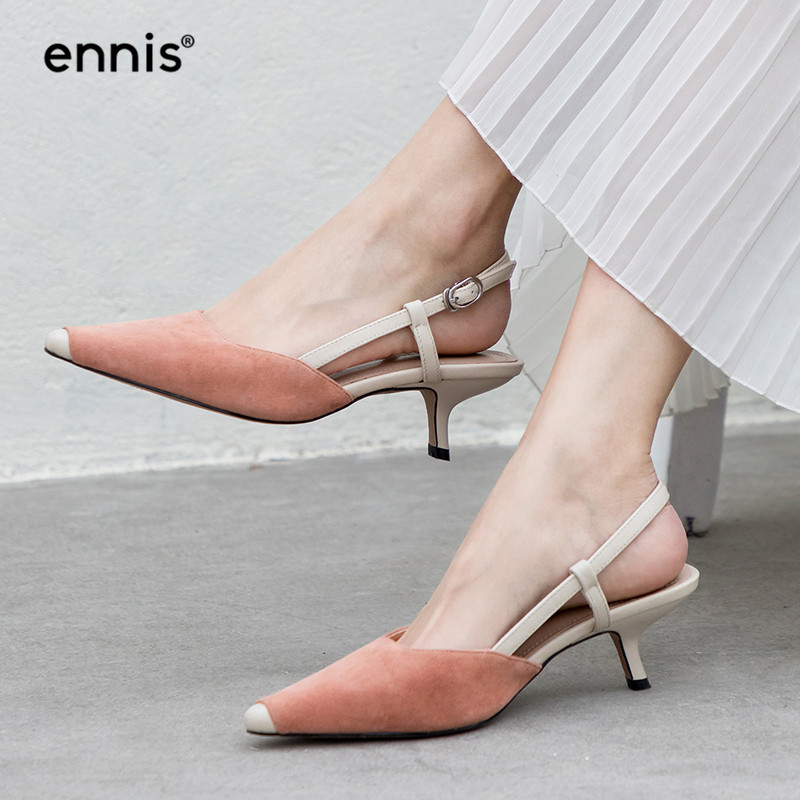 ENNIS 2019 Slingbacks Pumps Pointed Toe Shoes Women Suede Leather Pumps Thin Heel Casual Shoes Mixed