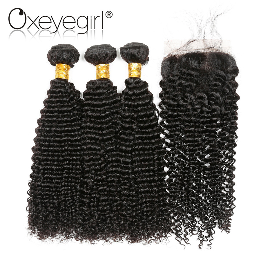 Oxeye girl Afro Kinky Curly Weave Human Hair Bundles With Closure Peruvian Hair 3 Bundles With Closure Nonremy 4x4 Lace Closure